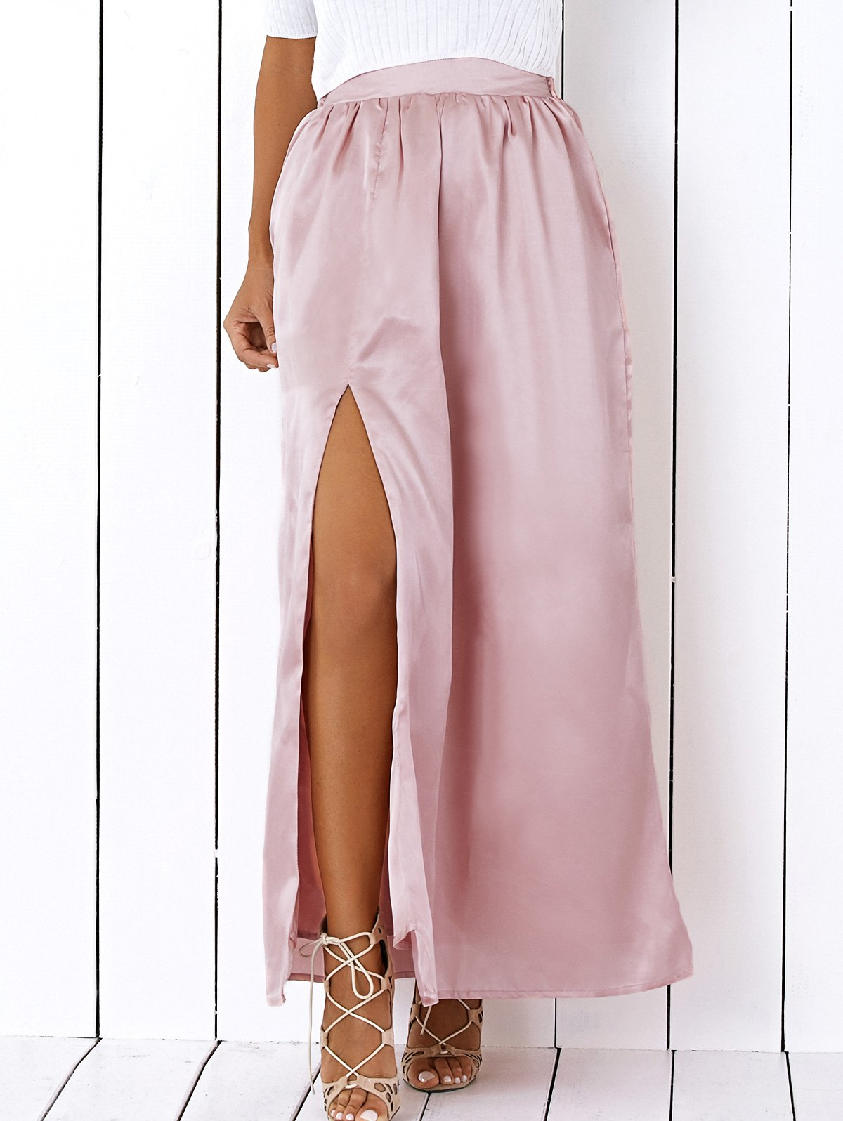 Elastic Waist High Slit Maxi Skirt