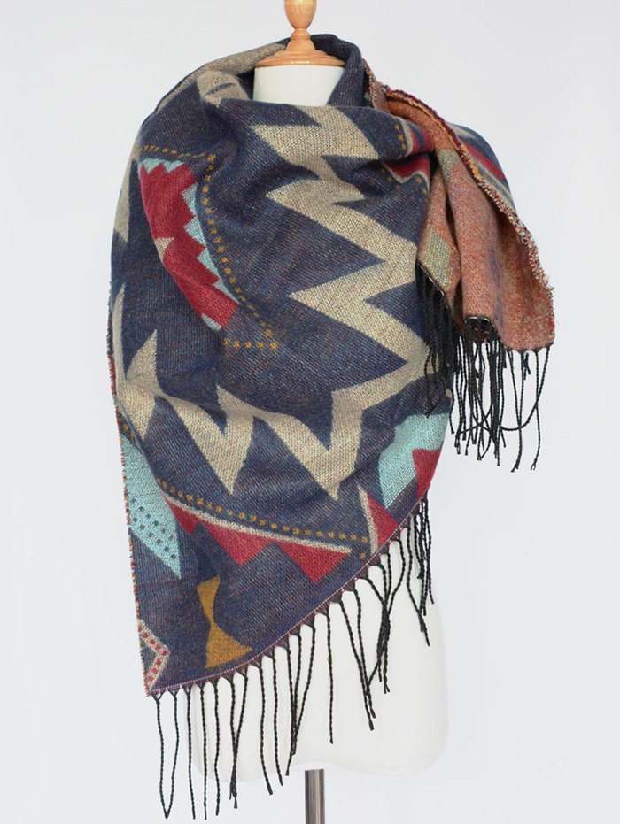 Geometry Tassel Edge Scarf
