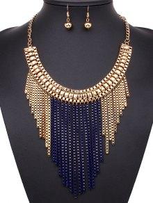 Irregular Tasseled Necklace And Earrings - Sapphire Blue