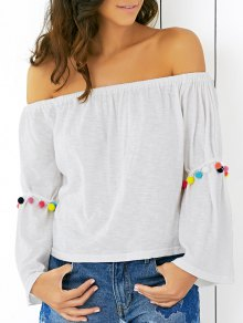 White Off The Shoulder Flare Sleeve T-Shirt