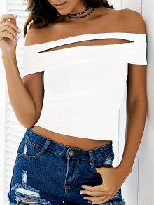 Black Cutout Off The Shoulder Cropped T-Shirt