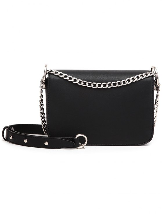 Chain Metal Ring Solid Color Crossbody Bag - BLACK  Mobile
