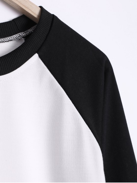 Color Block Round Neck Raglan Sleeve Sweatshirt - WHITE AND BLACK M Mobile