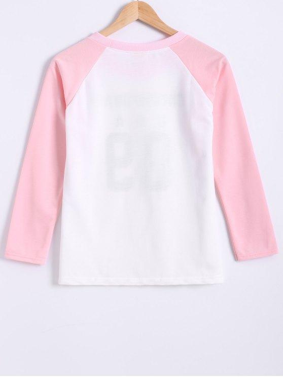 Color Block Letter Print Raglan Sleeve Sweatshirt - PINK L Mobile