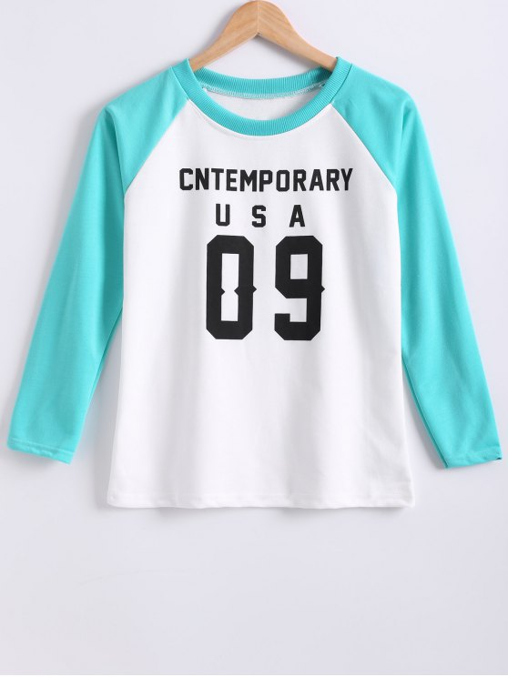 Color Block Letter Print Raglan Sleeve Sweatshirt - TIFFANY BLUE M Mobile