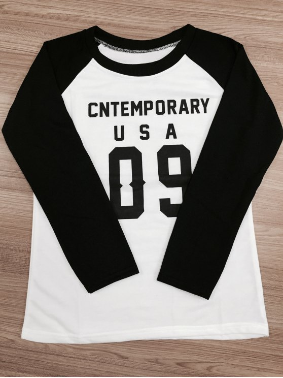 Letter Pattern Raglan Sleeve Color Block Sweatshirt - WHITE AND BLACK 2XL Mobile