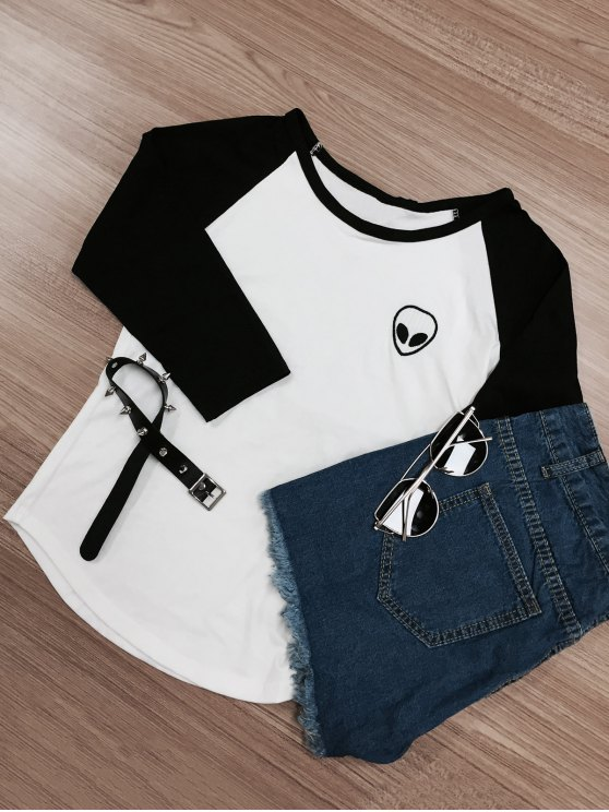 lady Raglan Sleeve Skull Print Color Block T-Shirt - WHITE AND BLACK S