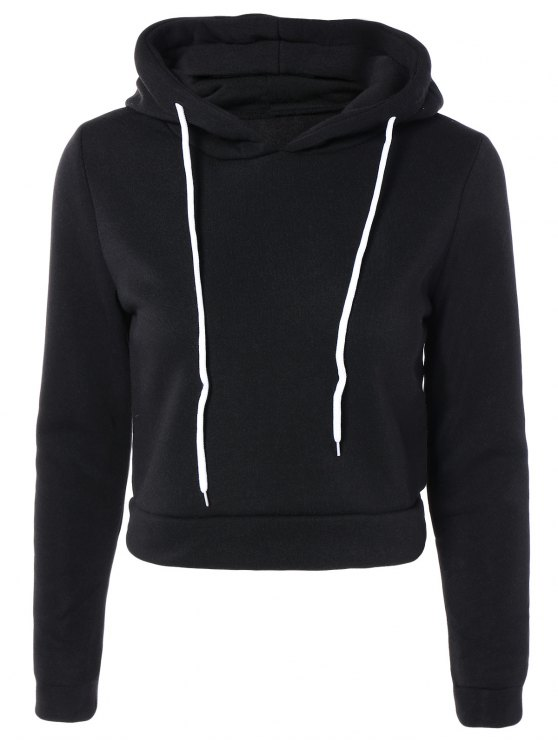 Cropped Pure Color Long Sleeve Hoodie - BLACK XL Mobile