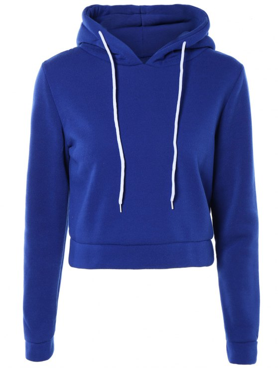 Cropped Pure Color Long Sleeve Hoodie - SAPPHIRE BLUE M Mobile