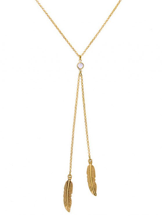 Gold Plated Leaf Bolo Necklace - GOLDEN  Mobile