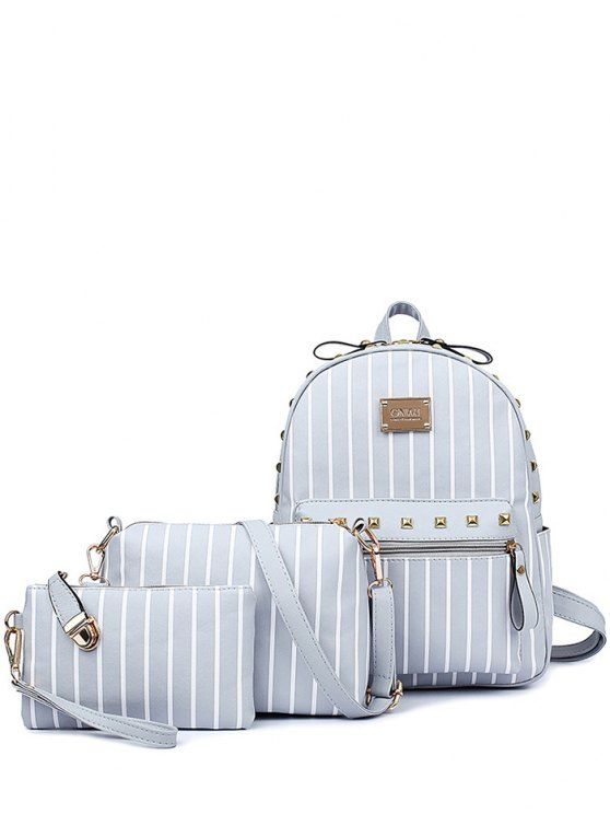 Striped Rivet PU Leather Backpack - LIGHT GRAY  Mobile