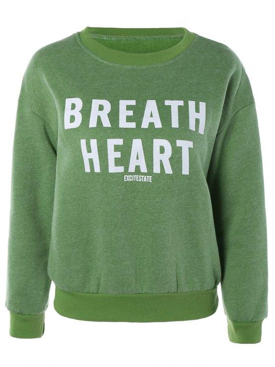 shop Letter Printed Round Neck Fleece Sweatshirt - GRASS GREEN ONE SIZE