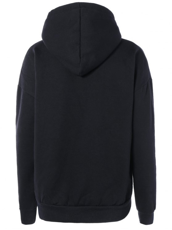 Letter Pocket Long Sleeve Fleece Hoodie - BLACK ONE SIZE Mobile