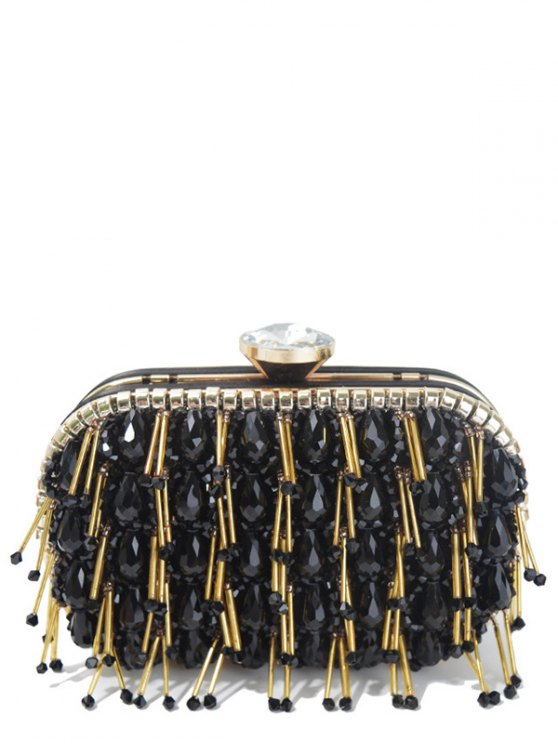 ladies Beading Chain-Trimmed Evening Bag - BLACK