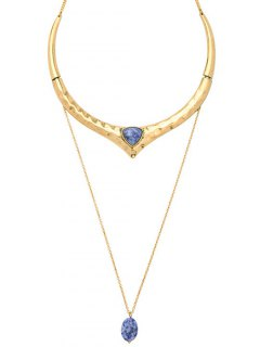 Natural Stone Ripple Layered Necklace - Golden