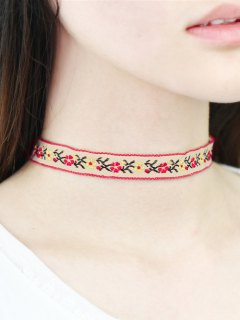 Floral Embroidery Choker - White