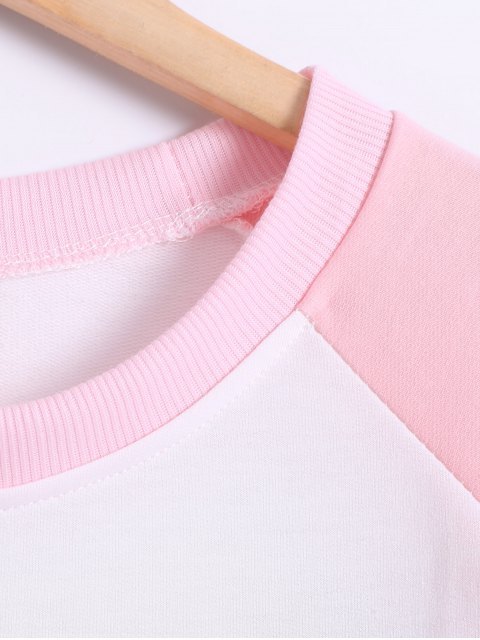 women Color Block Letter Print Raglan Sleeve Sweatshirt - PINK L Mobile