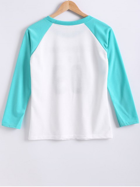 online Color Block Letter Print Raglan Sleeve Sweatshirt - TIFFANY BLUE M Mobile