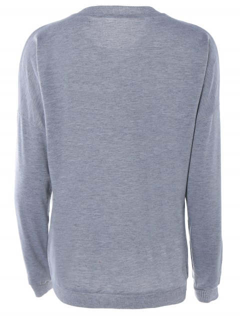 new Letter Printed Round Neck Sweatshirt - GRAY L Mobile