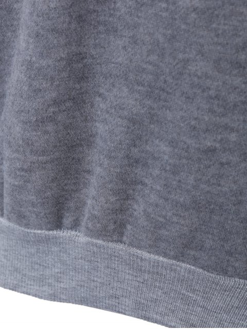 shops Letter Printed Round Neck Fleece Sweatshirt - DEEP GRAY ONE SIZE Mobile