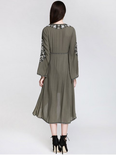 shops Embroidered Empire Waist Boho Dress - ARMY GREEN M Mobile