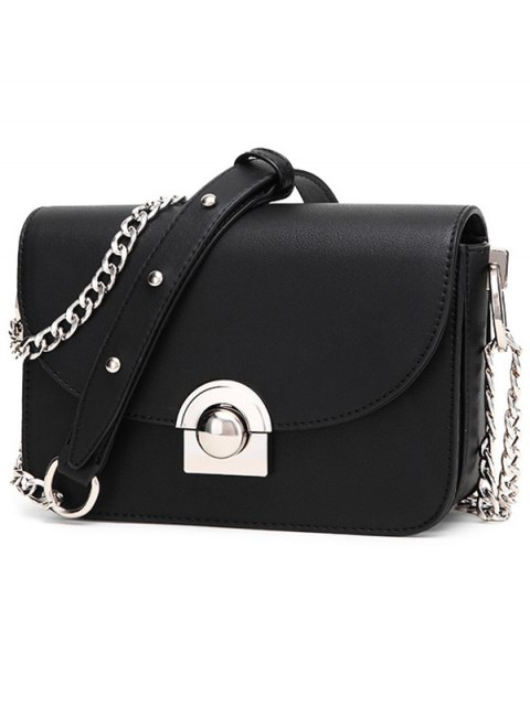 women Chain Metal Ring Solid Color Crossbody Bag - BLACK  Mobile