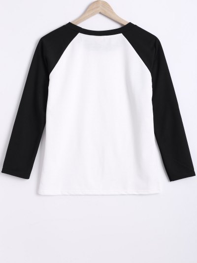 Color Block Round Neck Raglan Sleeve Sweatshirt - WHITE AND BLACK M Mobile