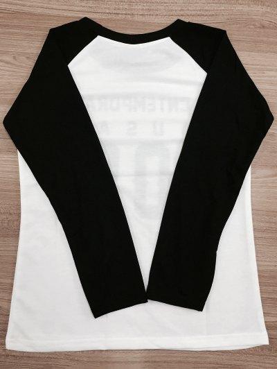 Letter Pattern Raglan Sleeve Color Block Sweatshirt - WHITE AND BLACK 2XL Mobile