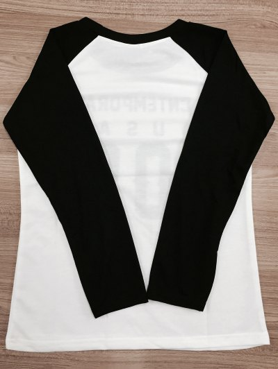 Letter Pattern Raglan Sleeve Color Block Sweatshirt - WHITE AND BLACK M Mobile