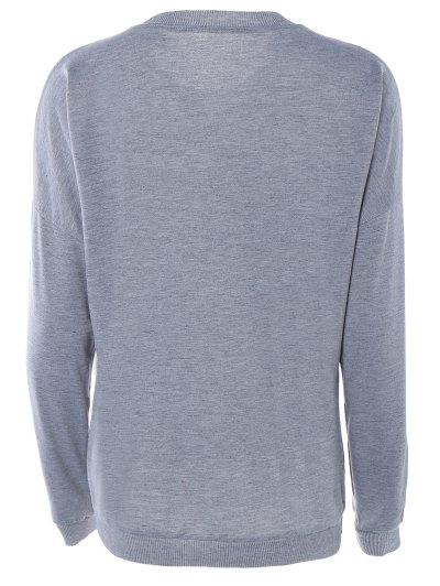 Letter Printed Round Neck Sweatshirt - GRAY M Mobile