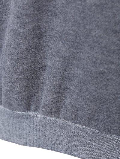 Letter Printed Round Neck Fleece Sweatshirt - DEEP GRAY ONE SIZE Mobile