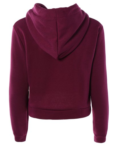 Cropped Pure Color Long Sleeve Hoodie - PURPLE S Mobile