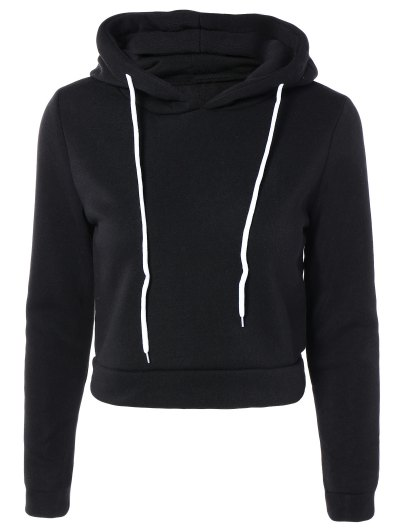 Cropped Pure Color Long Sleeve Hoodie - BLACK M Mobile
