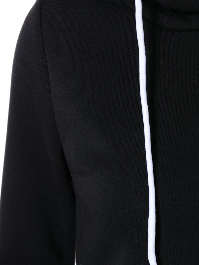 Cropped Pure Color Long Sleeve Hoodie - BLACK S Mobile