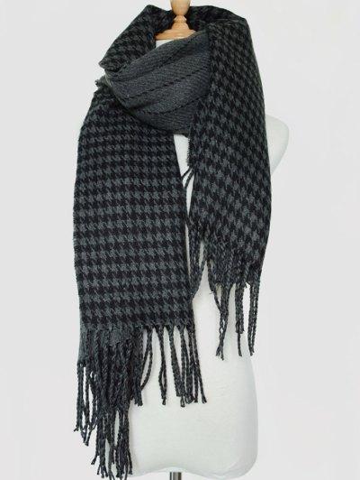 Houndstooth Stripe Tassel Edge Scarf - BLACK GREY  Mobile