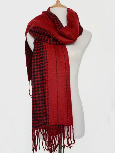 Houndstooth Stripe Tassel Edge Scarf - RED  Mobile