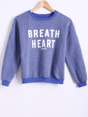Letter Printed Round Neck Fleece Sweatshirt - Blue