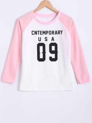 Color Block Letter Print Raglan Sleeve Sweatshirt - Pink