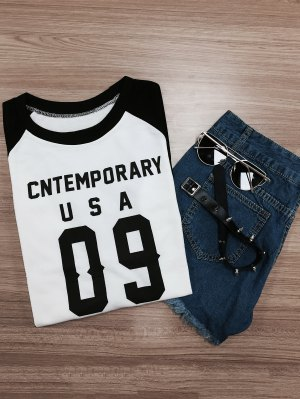 Letter Pattern Raglan Sleeve Color Block Sweatshirt - White And Black