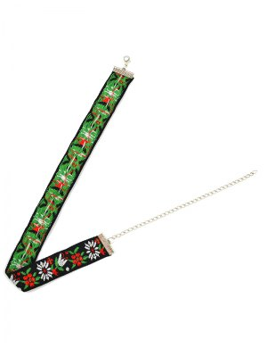 Flowers Embroidery Choker Necklace - Green