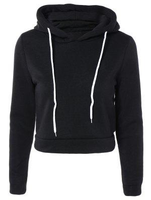 Cropped Pure Color Long Sleeve Hoodie - Black