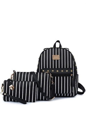 Striped Rivet PU Leather Backpack - Black