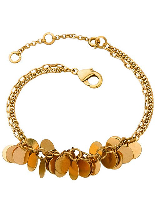 Gold Plated Multilayered Disc Charm Anklet