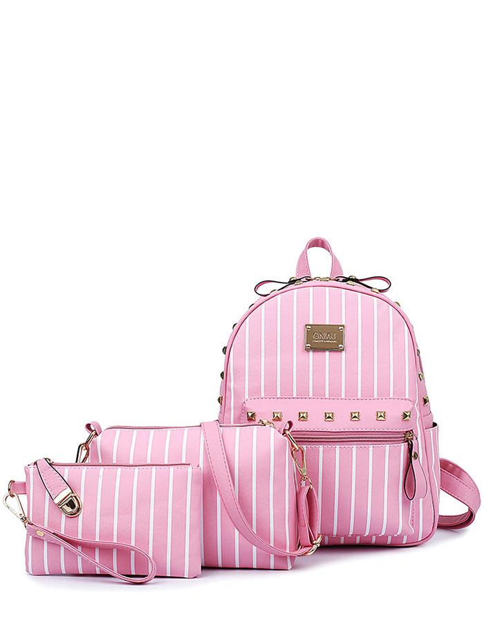 Striped Design Backpack For Women