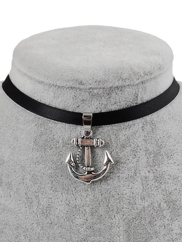 Faux Leather Anchor Pendant Choker