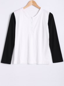 Round Neck Long Sleeve Color Block T-Shirt
