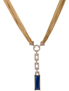 Multilayered Faux Sapphire Rhinestone Necklace