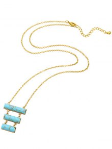 Tiered Geometric Natural Stone Pendant Necklace - Turquoise