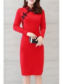 كم طويل الجانب الشق شيونغسام اللباس - أحمر L
