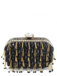 Beading Chain-Trimmed Evening Bag
